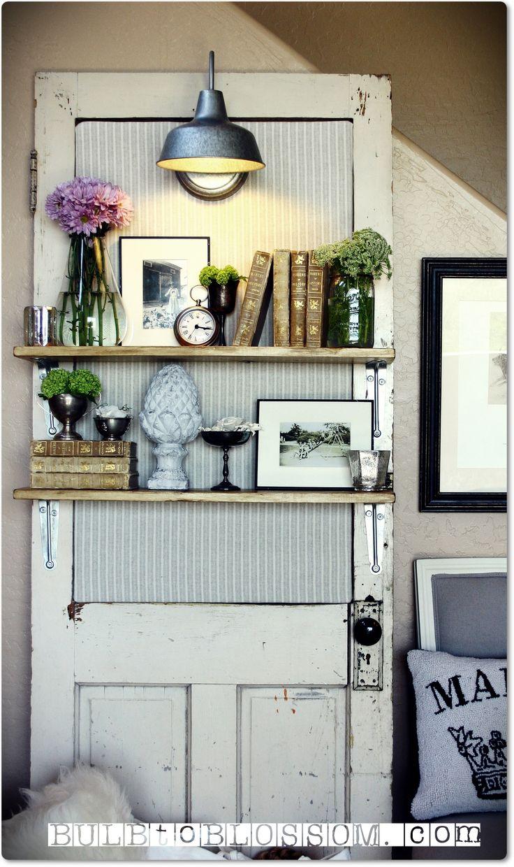 puerta reutilizada como estantera pinterest