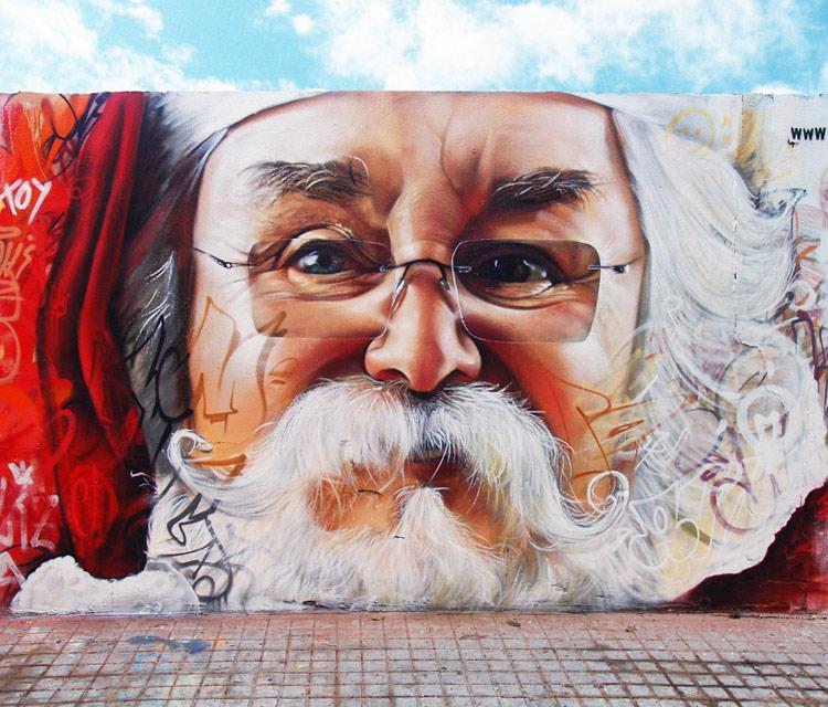 Arte callejero navideño