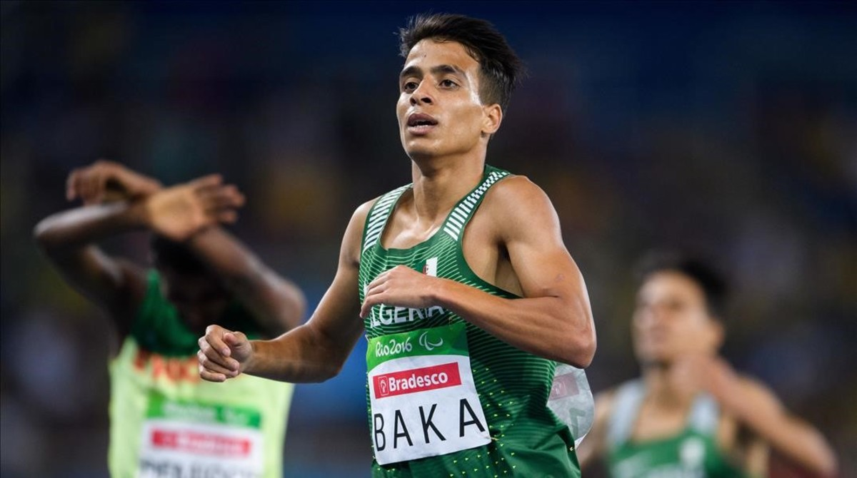 In this photo released by IOC  Algeria s Abdellatif Baka wins the gold in the men s 1 500-meter T13 final athletics event at Olympic Stadium during the Paralympic Games in Rio de Janeiro  Brazil  Sunday  Sept  11  2016   Bob Martin OIS IOC via AP