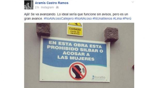 Cartel en una obra en construcción en Perú tomada por un usuario de Facebook.  / Enterate México
